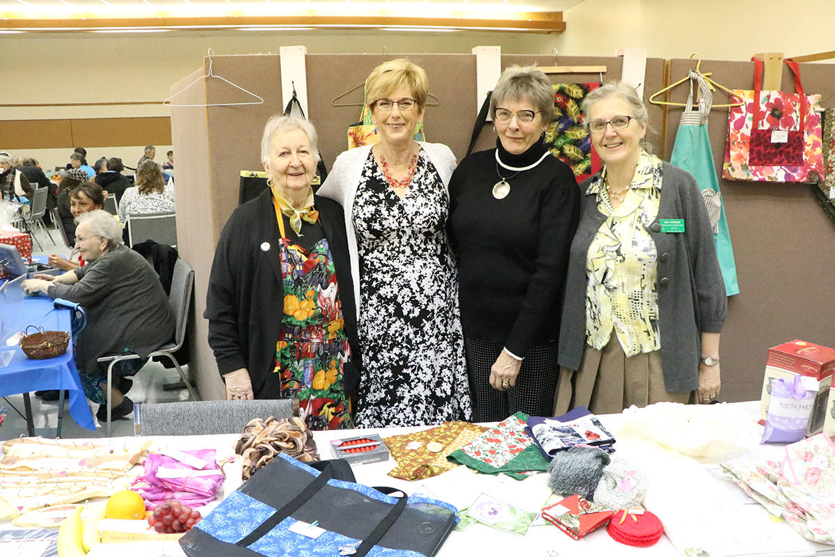 Order of the Eastern Star members Shirley Crosina (from left), Val Fleming, Mary Robertson and Gail Peterson helped organize their annual Tea, Bake Sale and Market. Patrick Davies photo.